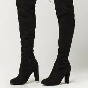 Thigh high lace up suede boots